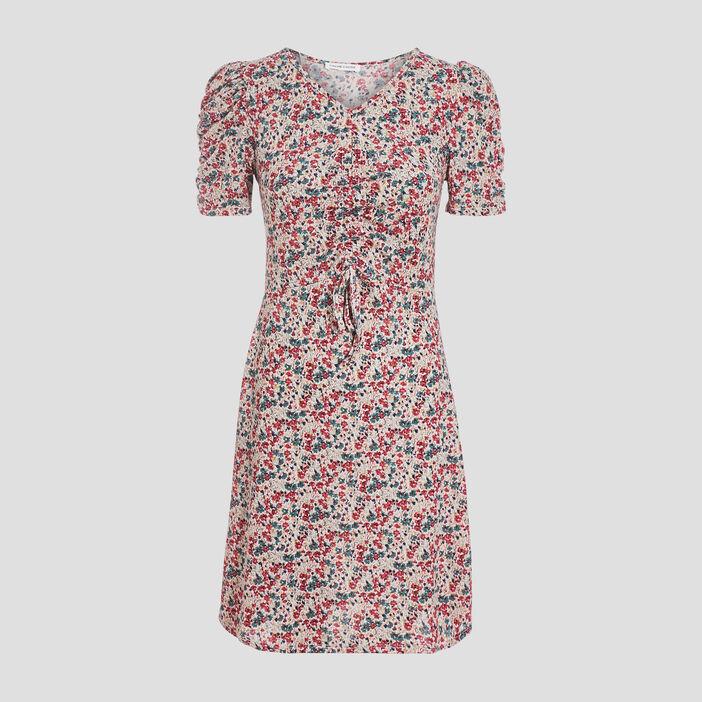 Robe évasée manches courtes rose fushia femme