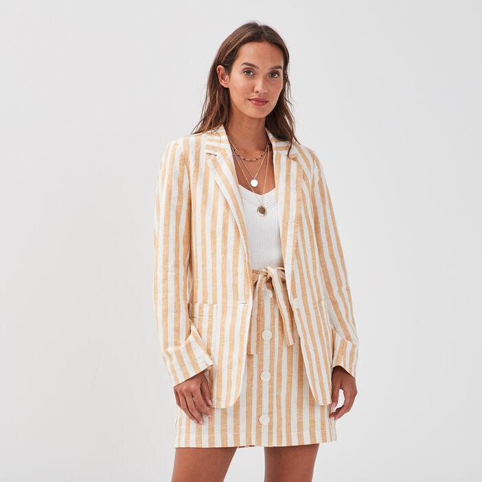 Veste blazer droite boutonnée blanc femme