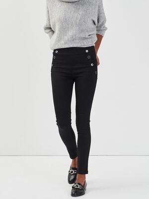 Jeans skinny taille haute a pont denim noir femme