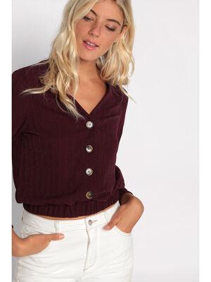 T shirt manches longues violet fonce femme