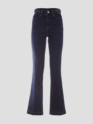 Jeans flare detail tresse denim brut femme