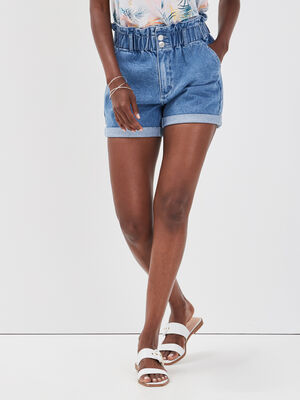 Short ample elastique en jean denim double stone femme
