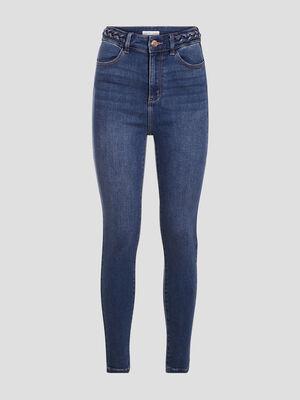 Jeans skinny details tresses denim double stone femme
