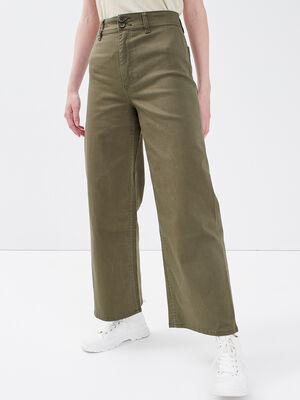 Jeans wide leg taille haute vert kaki femme
