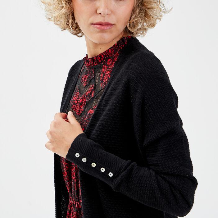 Gilet long avec poches noir femme