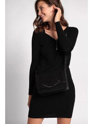 Sac besace detail chaine noir femme