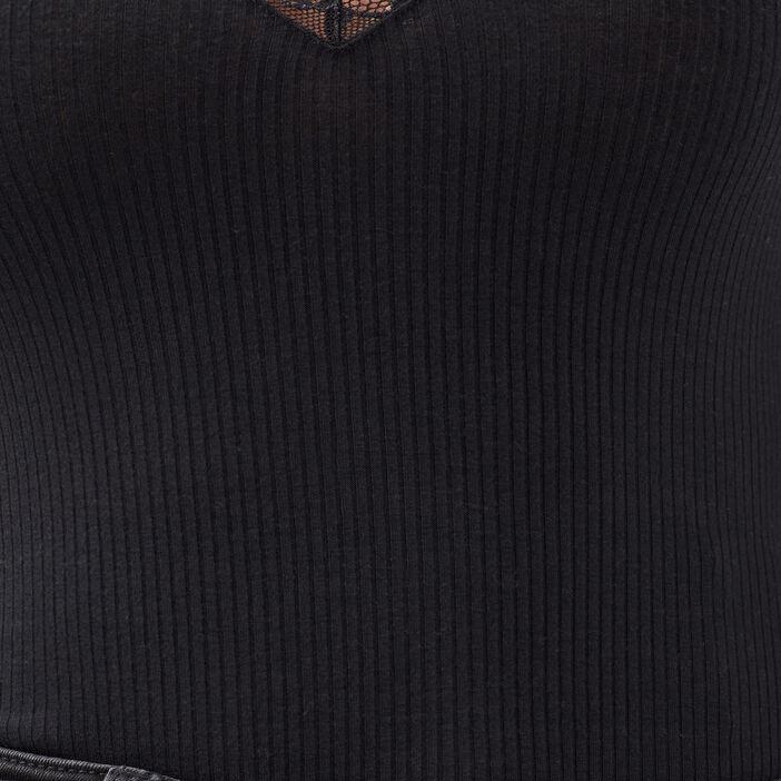 Body bretelles larges côtelé noir femme