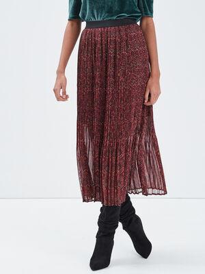 Jupe longue evasee plissee prune femme