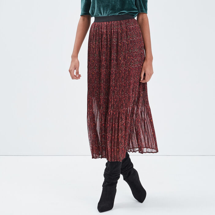 Jupe longue évasée plissée prune femme