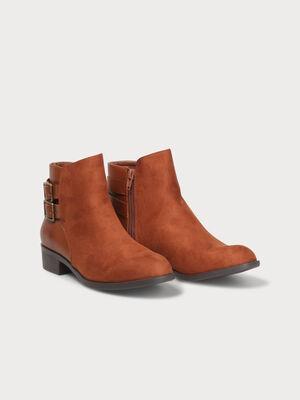 Boots a talons zippees avec brides camel femme