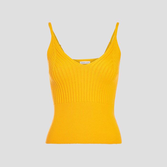 Pull débardeur côtelé jaune foncé femme