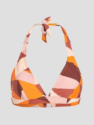 Haut de maillot de bain orange corail femme