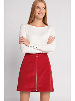 Jupe velours rouge femme
