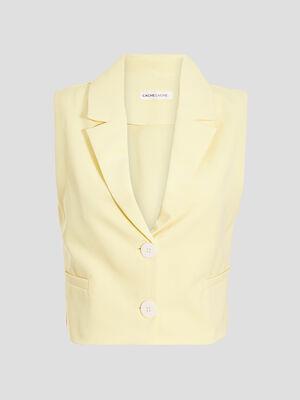 Veste droite sans manches jaune pastel femme