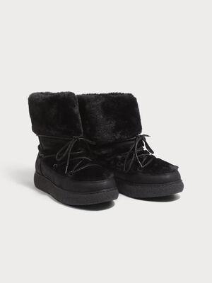 Bottines plates fourrees noir femme