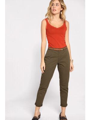 Pantalon chino avec ceinture vert kaki femme