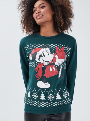 Sweat manches longues Mickey vert fonce femme