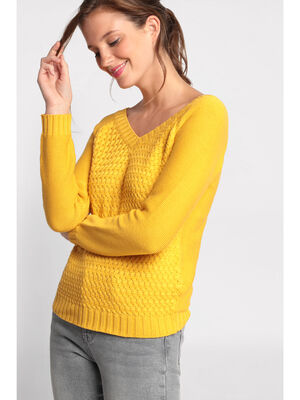 Pull manches longues oeillets jaune femme