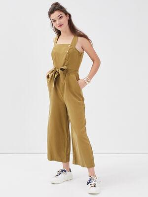 Combinaison pantalon bretelles vert olive femme