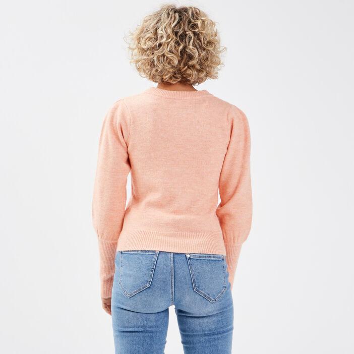 Pull manches longues orange femme