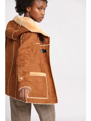 Duffle coat droit a capuche camel femme