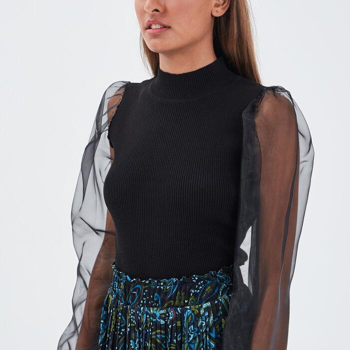 Pull manches transparentes noir femme