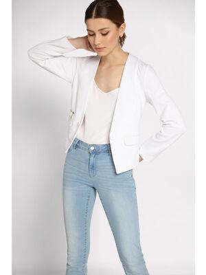 Blazer cintre detail zip blanc femme