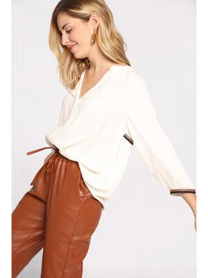 Chemise manches 34 avec plis ecru femme