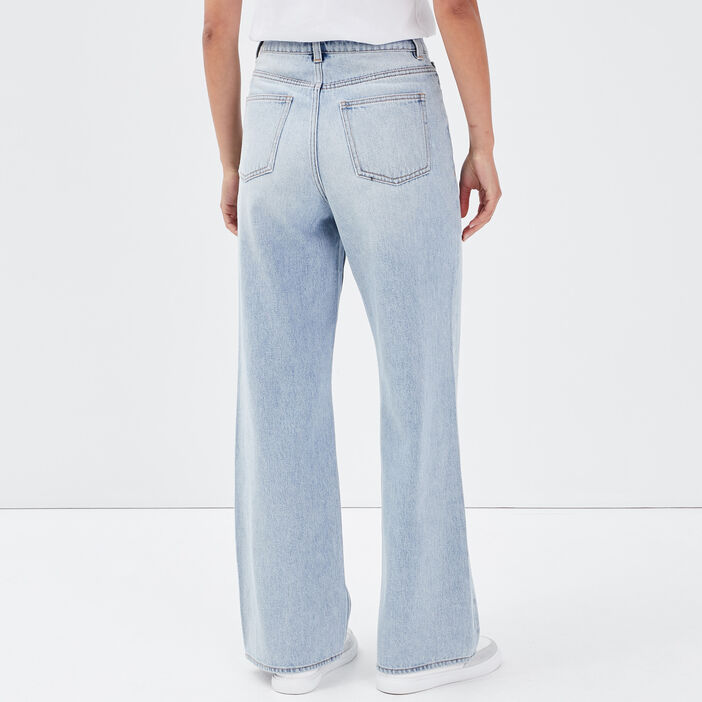 Jeans wide leg taille haute denim double stone femme