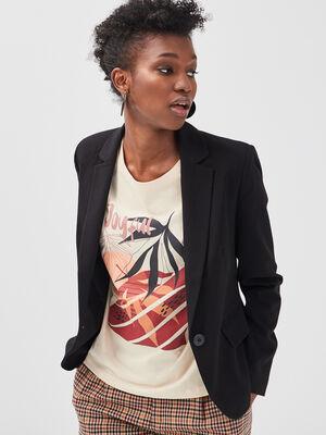 Veste blazer droite boutonnee noir femme