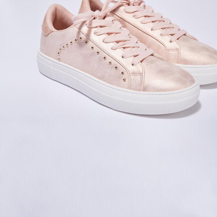 Baskets sneakers plates rose poudrée femme