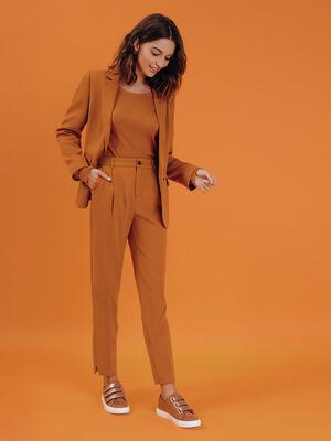 Pantalon city avec pinces camel femme