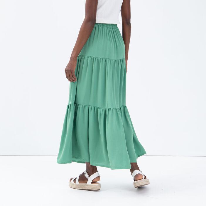 Jupe longue évasée vert clair femme