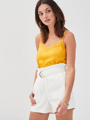 Debardeur bretelles fines jaune femme