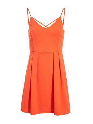 Robe courte evasee a bretelles orange femme