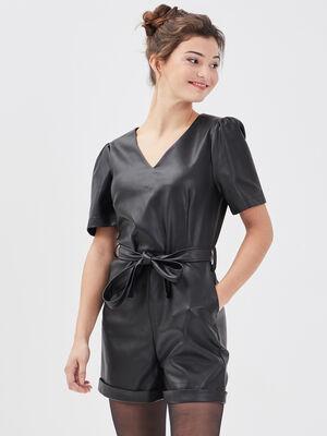 Combishort ceinturee noir femme