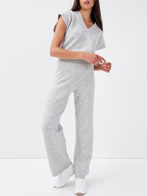 Pantalon large gris clair femme
