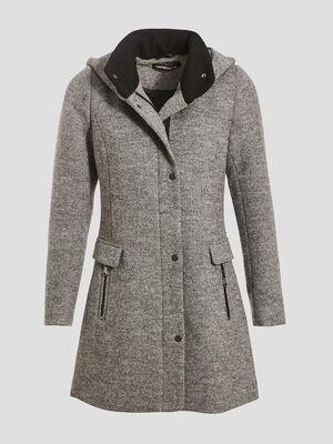 Manteau evase avec capuche gris fonce femme