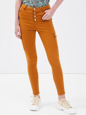 Jeans skinny boutonne camel femme