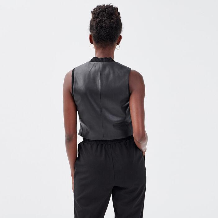 Veste droite sans manches noir femme