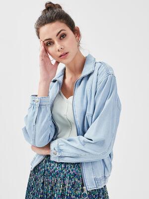 Blouson droit en jean denim bleach femme