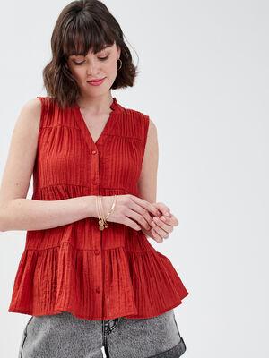 Chemise sans manches rouge fonce femme