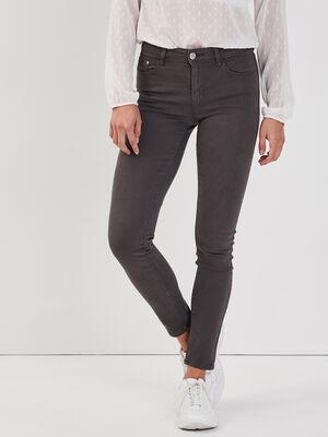 Jeans slim 5 poches gris fonce femme