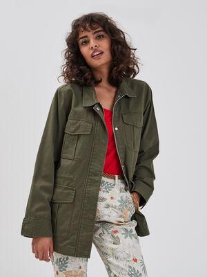 Veste saharienne vert kaki femme