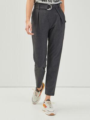 Pantalon paperbag fluide gris fonce femme