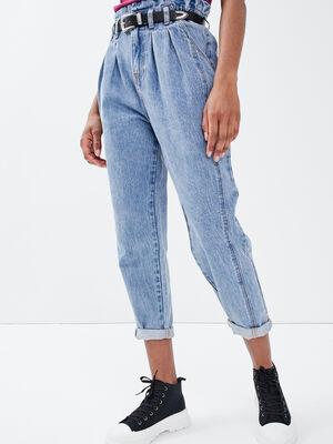 Jeans slouchy avec pinces denim double stone femme