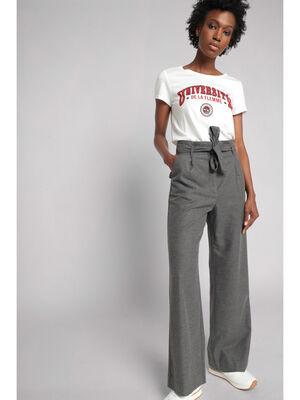 Pantalon paperbag a ceinture gris fonce femme