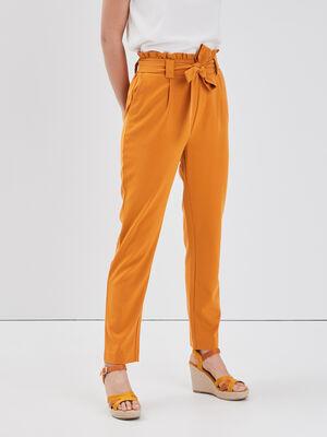 Pantalon paperbag jaune moutarde femme