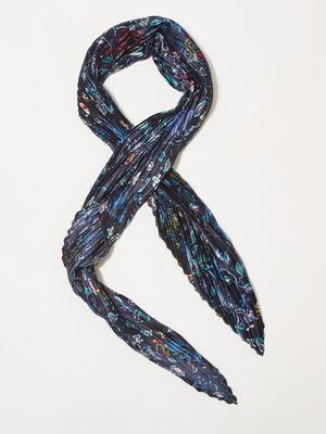 Foulard carre plisse bleu fonce femme
