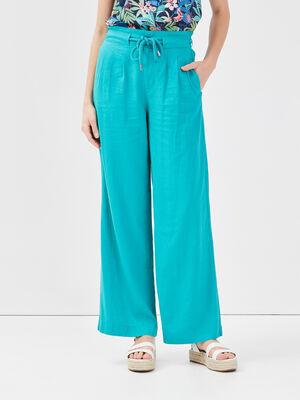 Pantalon fluide lin vert femme